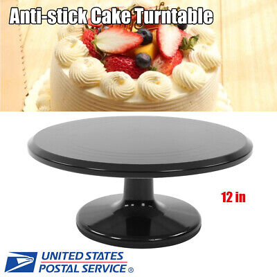 12in Aluminum Cake Turntable Stand Anti-stick Baking Tray Decorating Supplies US](Cake Decorating Sticks)