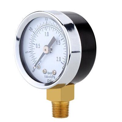 0-30psi 0-2bar Air Pressure Hydraulic Gauge 14inch Npt Side Mount Manometer New