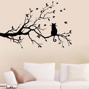 Gatto su lungo rami d 39 albero decalcomanie da muro adesivo arte trasferibili ebay - Albero su parete ...