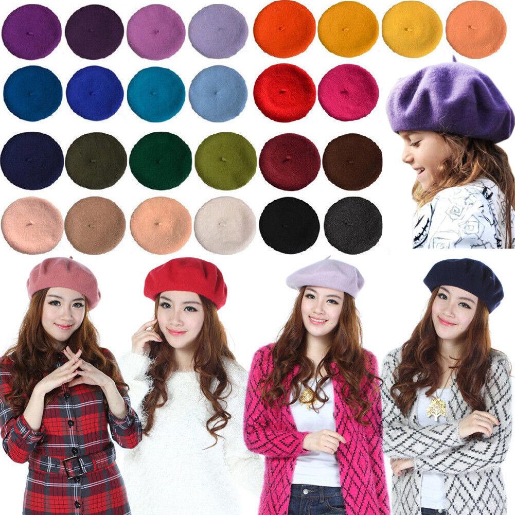 Tan Girls Summer French Berets Beanies Fashion Wool Felt Acc