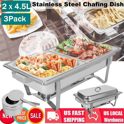 3pack 2 Slots Dish Chafing 9l Buffet Catering Folding Chafer Set Stainless Steel