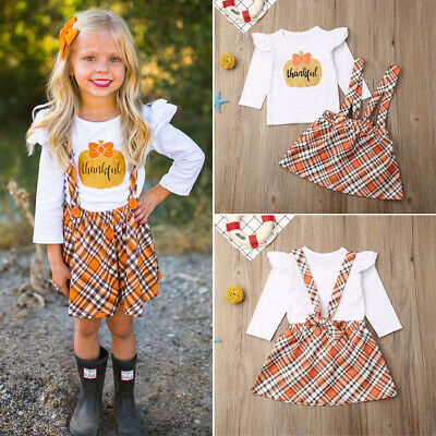 US Toddler Baby Girls Halloween Pumpkin Ruffle Tops Strap Skirt Outfit Clothing