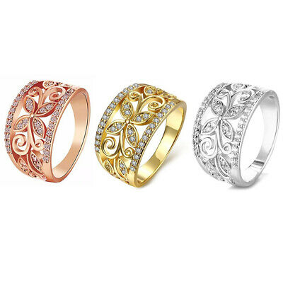 Fashion Rhinestone Hollow Flower Pattern Finger Ring Lady Women Wide Band Well Fashion Jewelry