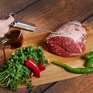 Stainless Steel Seasoning Marinade Injector Gun Flavor Needle Meat BBQ Cook Tool