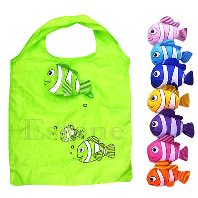Cute Reusable Grocery Bags (Fashion Cute Little Fish Reusable Folding Shopping Bag Travel Grocery Bags)