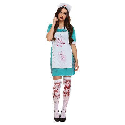 Blue Banana Green Bloody Zombie Nurse Adult Ladies Costume Halloween Fancy Dress