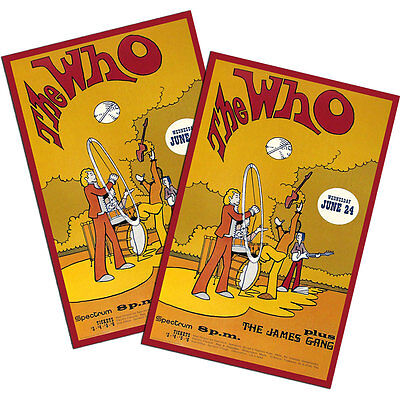 """Two The Who & The James Gang Concert Poster 11x17"""" Reproduction Posters"""