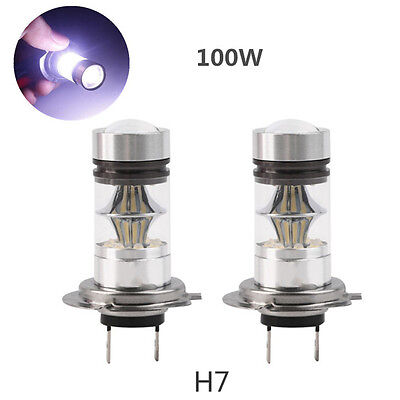 2X H7 Cree LED 6000K 100W 20SMD Super Bright Fog DRL Headlight White Light Bulb