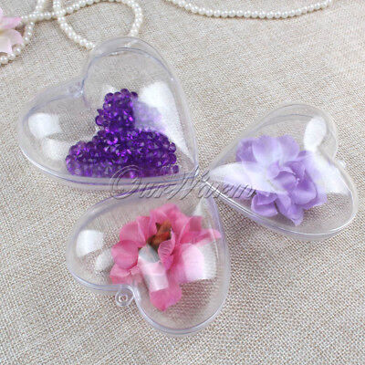 50x DIY Clear Plastic Heart Candy Box Favors Gifts Wedding Event Party Supplies - Wedding Favors Diy