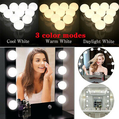 10 Led Bulbs Hollywood Mirror Lights Vanity Makeup Bathroom Dressing Table UK