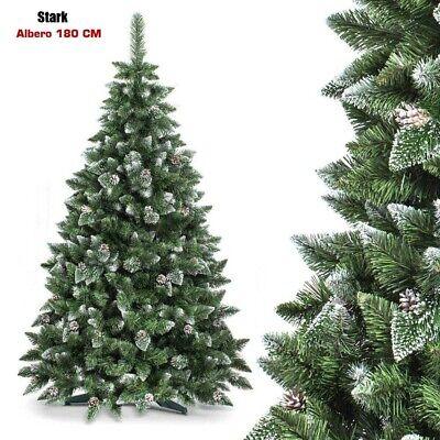 Albero Di Natale Stark 180 CM 800 Rami Innevato Base a Croce e Decorazione Pigne