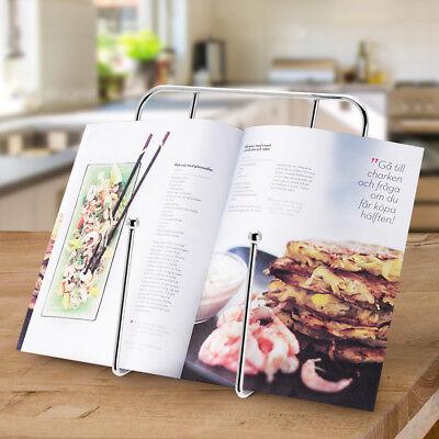Supporto per Libri Da Cucina Ricettario Leggio per Ricette in Metallo Cromato