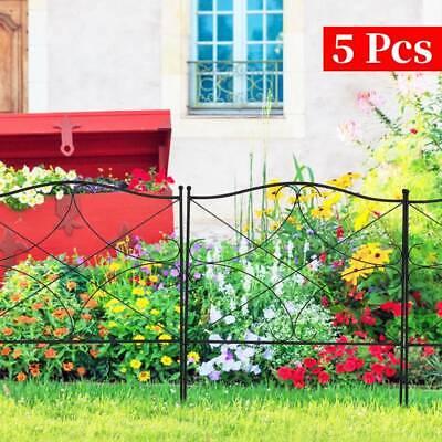 5 Pcs Metal Garden Fence Panels Border Edging Flower Bed Animal Barrier Decor