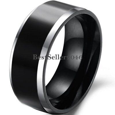 8mm Black Polished Tungsten Carbide Men Wedding Ring Beveled Edge Band Size 7-13 Edge 8mm Tungsten Carbide Ring
