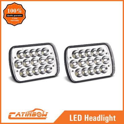 """Pair 7x6"""" LED Headlights HID Light Bulbs Crystal Clear Sealed Beam Headlamp"""