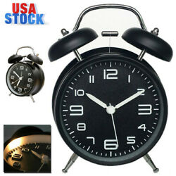 Classical Alarm Clock Vintage Silent Dual Bell Loud Clock Night Light Home Decor