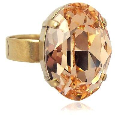 Damen-Ring mit Kristall von Swarovski® Rosa Peach Gold Größe Variabel NOBEL SCHM