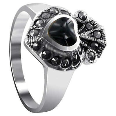 Sterling Silver Simulated Heart Black Onyx Inlay with Marcasite Ring Size 5 - 9