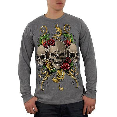 Skull And Roses Tattoo Sleeve (Skulls and Roses Tattoo Mens Soft Long Sleeve Blend T)