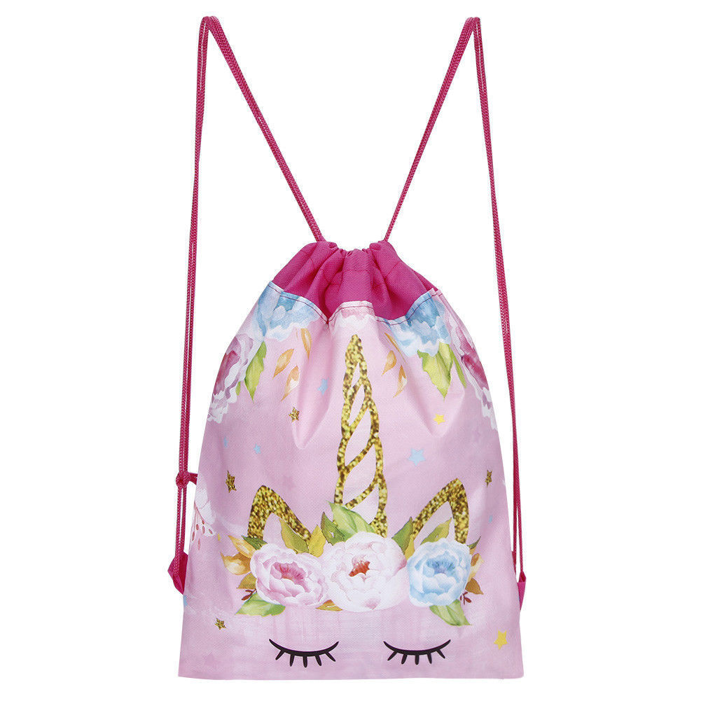 Magic Unicorn Dinosaur Kids P.E Swim Drawstring Bag Girls School Gym Backpack