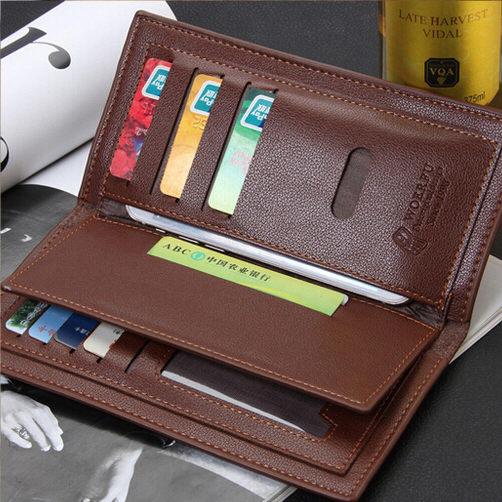 Men's Slim Leather Wallet Bifold ID Card Holder Purse Long Clutch Handbag Gift Clothing, Shoes & Accessories