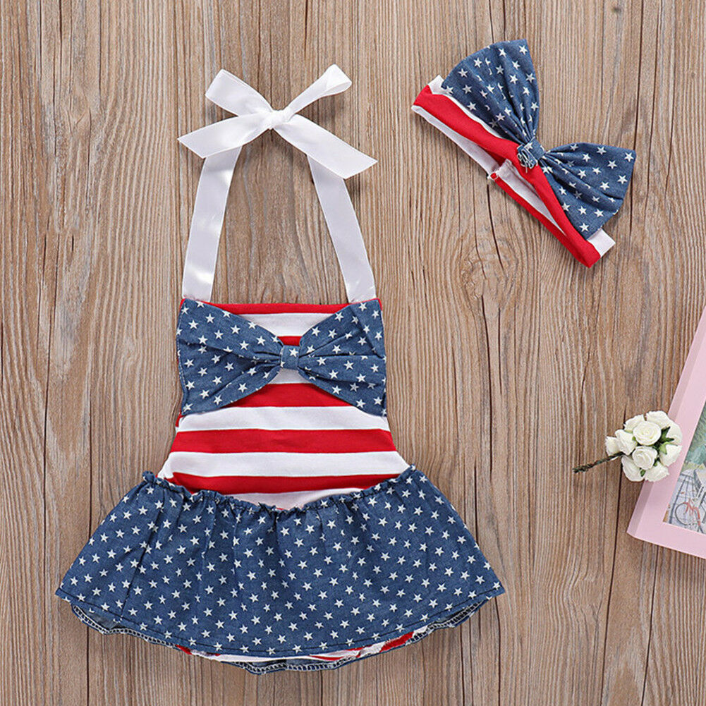 397943ac6b19 Baby Girl 4th of July Clothes Star Stripe Flag Romper Tutu Dress Headband  Outfit. Click here to Enlarge