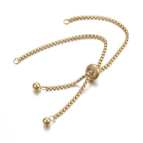 10pcs adjustable golden stainless steel slider bracelet