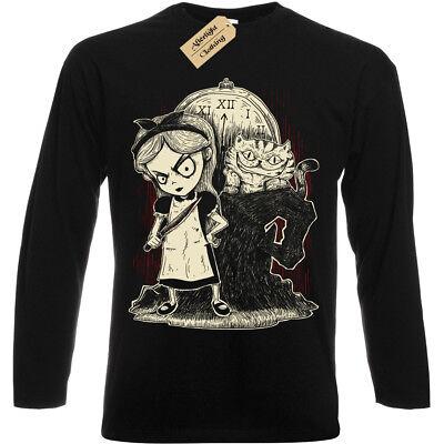 Alice In Wonderland Evil (Gothic Alice in Wonderland T-Shirt Long Sleeve Mens evil mad nightmare cheshire)