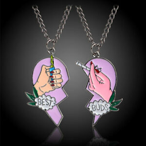 FASHION BEST BUDS PRINT CIGARETTE LIGHTER PARTLY HEART NECKLACE PENDANT DAINTY