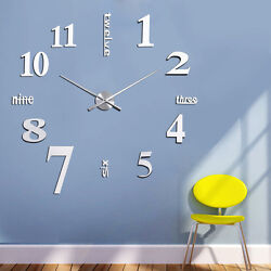 DIY Unique Large Wall Clock 3D Mirror Sticker Big Watch Home Decor Wall Sticker