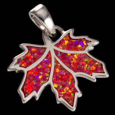 Maple Leaf Ruby Red Fire Opal Silver Jewelry Necklace Pendant ()