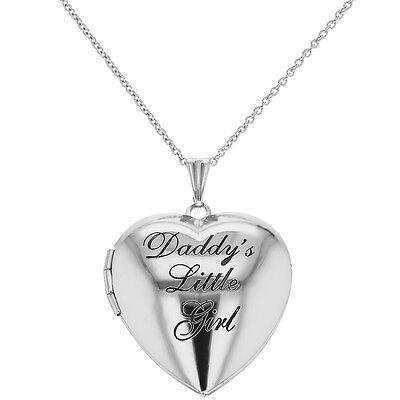 "Silver Tone Photo Locket Heart Pendant Necklace ""Daddy"