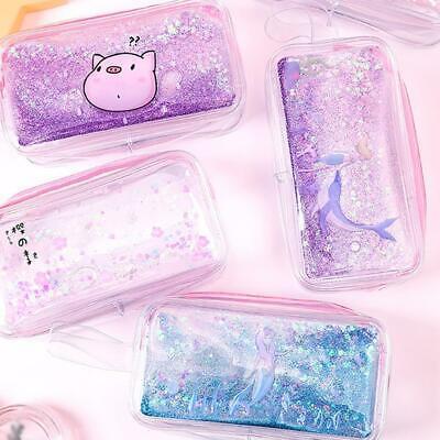 Glitter Pencil Case (New Transparent Glitter Quicksand Pencil Case Makeup Case Box Gift for Girls  )