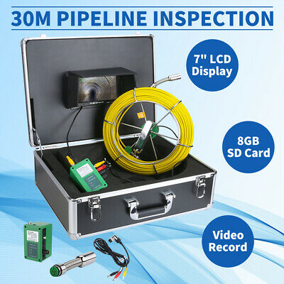 8gb 30m Sewer Waterproof Camera Pipe Pipeline Drain Inspection 7 Lcd Dvr