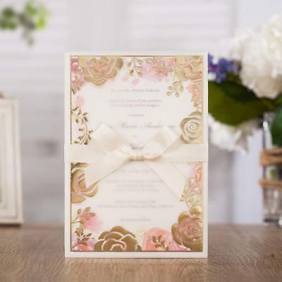 Floral Gold Rose Wedding Invitations Card With Ribbon and Envelope Blank - Gold Wedding Invitations