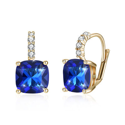 14k Yellow Gold Plated Blue Topaz Leverback Earrings Made with Swarovski Crystal ()