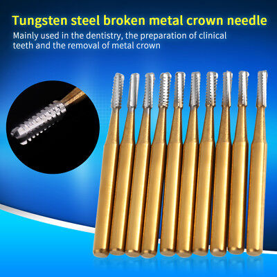 10pcs Set High Speed Dental Tungsten Steel Crown Metal Cutting Burs