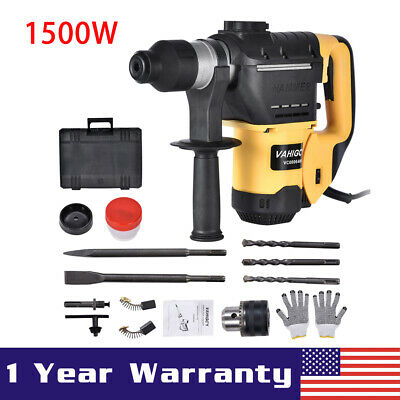 1500w 1-12 Sds Electric Rotary Hammer Drill Plus Demolition Chisel Bits Wcase