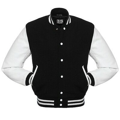 Baseball Varsity Letterman Bomber Jacket, Melton Wool and Real Leather Sleeves Melton Wool Letterman Jacket