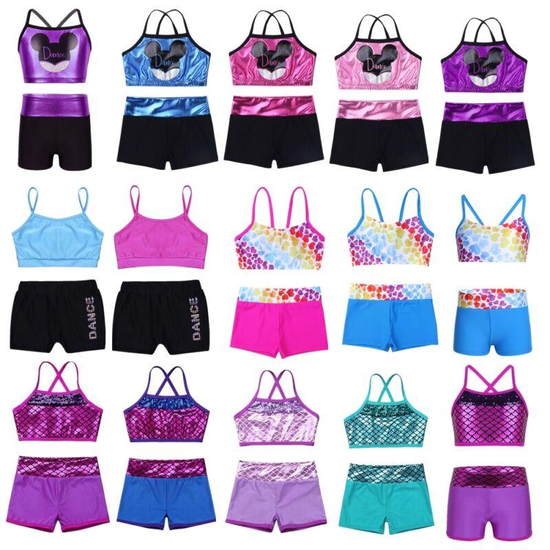 Dance Crop Top Girl Kids Metallic Gym Ballet Sport Street Leotard Tops Dancewear