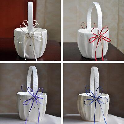 New Bridal Wedding Flower Girl Basket Bowknot Rhinestone Lace Decor Satin/Burlap](Burlap Basket)