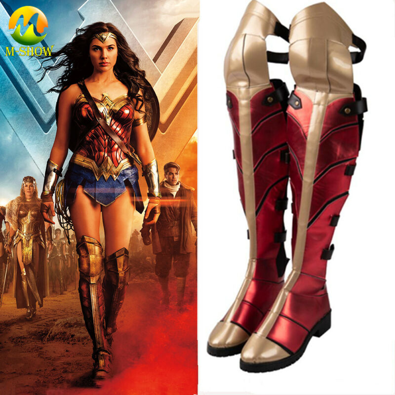 Halloween Fancy Boots Wonder Woman Cosplay Costume Shoes Adult Women Red Boots