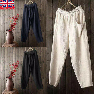 Mens Cotton Linen Loose Pants Elastic Waist Summer Beach Casual Yoga Trousers UK