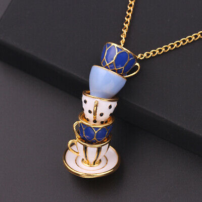 New Women Fashion Enamel Teacup Hand Painted Pendant Long Chain Necklace Jewelry Fashion Jewelry