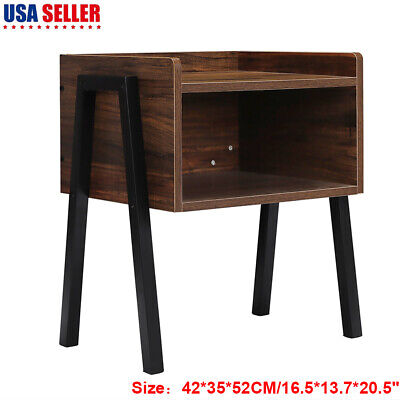 Wood Vintage Nightstand Stackable End Table Storage Cabinet Bedside Table US ()