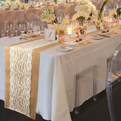 20×Hessian Burlap Table Runner Rustic Wedding Lace Flower Table Cloth Cover Deco - Rustic Table Cloth