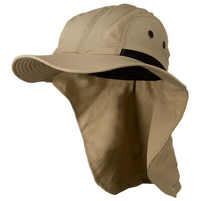 Mens Womens Camping Outdoor Hiking Sun Protection Hat With Neck Cover Flap Khaki