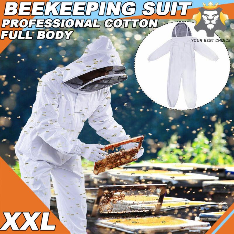 Professional Cotton Full Body Beekeeping Bee Keeping Suit w/ Veil Hood XXL