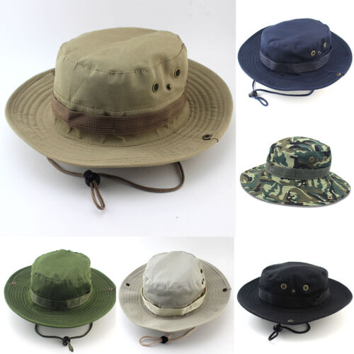 Camping Bucket Hat Boonie Cap Hunting Fishing Washed Canvas Sun Hat With Strings