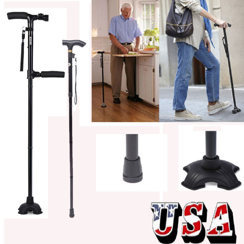 All-Terrain Pivoting Base Folding Walking Stick Cane 2 Style Available